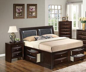 G1525IKSB4NCH 3 Piece Set including  King  Size Bed, Nightstand and Chest  in Cappuccino