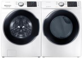"White Front Load Laundry Pair with WF45M5500AW 27"" Front Load Washer and DVG45M5500W 27"" Gas Dryer"