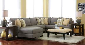 Chamberly 243004LCHSSACO2ETR2L 7-Piece Living Room Set with 4PC Left Chaise Sectional, Accent Ottoman, 2 End Tables, Rug and 2 Lamps in Alloy