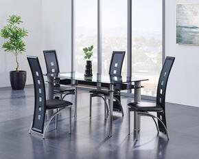 D1058DT5PCSET 5 Piece Dining Table with Trim and Chairs Set, Table + 4 Chairs