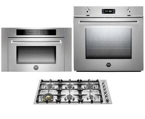 "Professional 3-Piece Stainless Steel Kitchen Package with F30PROXE 30"" Single Electric Wall Oven, QB36600X 36"" Gas Cooktop and SO24PROX Built In Microwave"