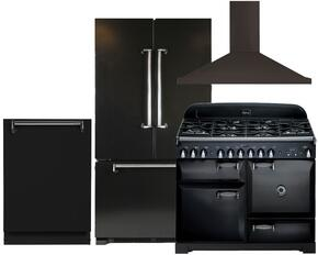 "Legacy AMLFDR20BLK 36"" Freestanding French Door Refrigerator 4-Piece Black Kitchen Package with ALEG44DFBLK 44"" Freestanding Dual Fuel Range, ALTTDWBLK Fully Integrated Dishwasher and AMCHD44BLK Wall Mount Range Hood"