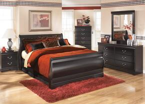 Huey Vineyard King Bedroom Set with Sleigh Bed, Dresser, Mirror and Nightstand in Black