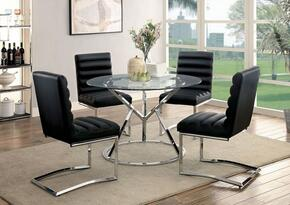 Livada I Collection CM3170RT4BSC 5-Piece Dining Room Set with Round Table and 4 Black Side Chairs in Chrome Finish