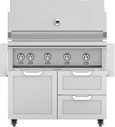 "42"" Freestanding Natural Gas Grill with GCR42 Tower Grill Cart with Double Drawer and Door Combo, in Steeletto Stainless Steel"