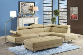 Milan Collection G451SCSET 2 PC Sectional Sofa Set with Sectional Sofa + Ottoman in Beige Color