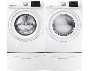 "White Front Load Laundry Pair with WF42H5000AW 27"" Washer, DV42H5000EW 27"" Electric Dryer and 2 WE357A0W Pedestals"