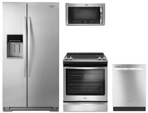"4-Piece Kitchen Package with WRS571CIDM 36"" Side by Side Refrigerator, WEE745H0FS 30"" Electric Slide-In Range, WDT720PADM 24"" Built in Dishwasher and WMH76719CS 30"" Microwave oven in Stainless Steel"