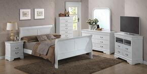 G3190AQBSET 6 PC Bedroom Set with Queen Size Sleigh Bed + Dresser + Mirror + Chest + Nightstand + Media Chest in White Finish