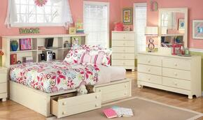 Cottage Retreat Full Bedroom Set with Bedside Storage Bed, Dresser and Mirror in Cream