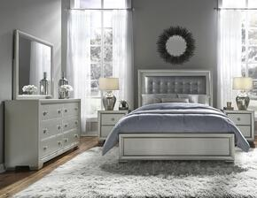 Celestial 89602505100BDM2N 5 PC Bedroom Set with Queen Size Bed + Dresser + Mirror + 2 Nightdtands in Silver Color