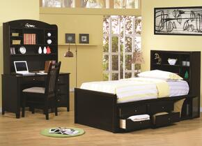 Phoenix Collection 400180TSET 4 PC Bedroom Set with Twin Size Storage Bed + Computer Desk + Hutch + Chair in Cappuccino Finish