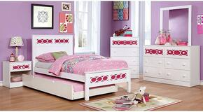 Cammi Collection CM7853PKFBDMCN 5-Piece Bedroom Set with Full Bed, Dresser, Mirror, Chest, and Nightstand in Pink and White Finish