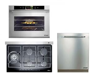 "Dacor Renaissance Series 3-Piece Kitchen Package With RNTT365GBNG 36"" Gas Sealed Burner Style Cooktop, DYO130B 30"" Electric Single Wall Oven and RDW24S 24"" Built-In Fully Integrated Dishwasher"
