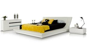 VGKCPOLARQDN Modrest Polar Platform Queen Size Bed + Dresser + 2 Nightstands in White