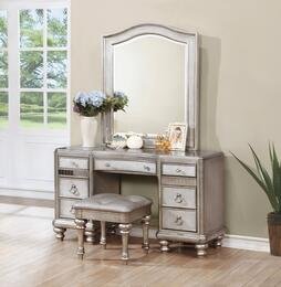 Bling Game 204187DMS 3 PC Vanity Set with Desk + Mirror + Stool in Metallic Platinum Color