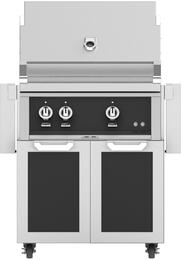 """30"""" Liquid Propane Grill with GCD30BK Tower Grill Cart with Two Doors, in Stealth Black"""