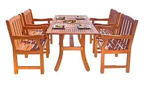 V187SET25 Outdoor Rectangular Curvy Dining Set 25