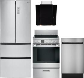 "4-Piece Kitchen Package with HRF15N3AGS 28"" French Door Refrigerator, HCR2250AES 24"" Electric Freestanding Range, QDT125SSKSS  18"" Built In Dishwasher and  HCH3400ACB 30"" Chimney Vent Hood in Stainless Steel"