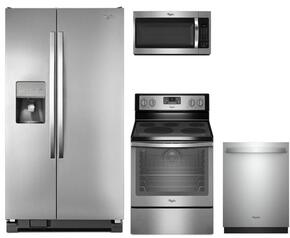"4-Piece Kitchen Package with WRS325FDAM 26"" Side by Side Refrigerator, WFE540H0ES 30"" Electric Freestanding Range, Viking WMH32519FS 30"" Over The Range Microwave oven and WDT750SAHZ 24"" Built In Dishwasher in Stainless Steel"