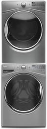 "Chrome Shadow Front Load Laundry Pair with WFW92HEFC 27"" Washer, WGD92HEFC 27"" Gas Dryer and W10869845 Stacking Kit"
