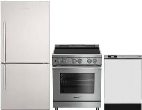 """3-Piece Kitchen Package with BRFB1822SSN 30"""" Bottom Freezer Refrigerator, BIRP34450SS 30"""" Slide-In Electric Range, and DWT25200SSWS 24"""" Full Console Dishwasher in Stainless Steel"""