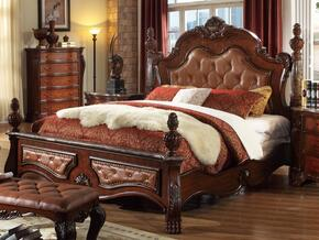LUXORQSET Luxor Elegant Solid Wood Queen Sized Bed + 2 Nightstands + Dresser + Mirror