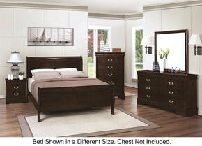 Louis Philippe 202411TDMN 4-Piece Bedroom Set with Twin Sleigh Bed, Dresser, Mirror and Nightstand in Cappuccino Finish