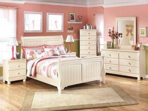 Cottage Retreat Full Bedroom Set with Sleigh Bed, Dresser, Mirror and Nightstand in Cream