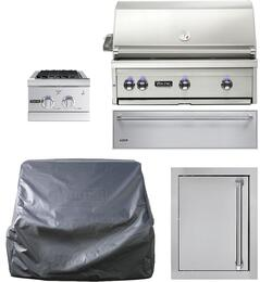 "5-Piece Stainless Steel Outdoor Kitchen Package with VQGI5360NSS 36"" Built-In Natural Gas Grill, Side Burner, Access Door, Storage Drawer and Grill Cover"