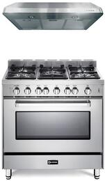 "Verona Stainless Steel 2-Piece Kitchen Package With VEFSGG365NSS 36"" Gas Freestanding Range with 5 Burners and VEHOOD3610 36"" Under Cabinet Range Hood For 50% Off"
