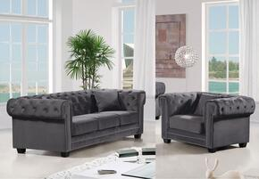 Bowery Collection 6142PCARMKIT2 2-Piece Living Room Sets with Stationary Sofa, and Living Room Chair in Grey