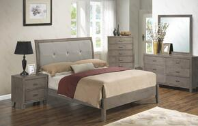 G1205AQBDMN 4 Piece Set including  Queen Bed, Dresser, Mirror and Nightstand with Padded HeadBoard, Tapered Legs and Wood Frame in Grey