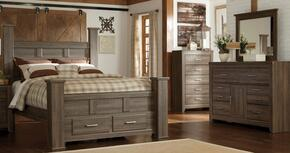 Juararo King Bedroom Set with Poster Storage Bed, Dresser, Mirror and Chest in Dark Brown