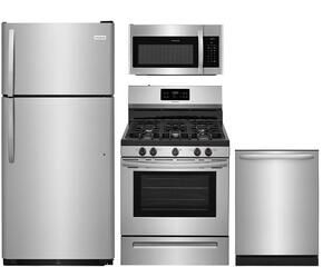 "4-Piece Stainless Steel Kitchen Package with FFTR1821TS 30"" Top Freezer Refrigerator, FFGF3054TS 30"" Freestanding Gas Range, FFID2426TS 24"" Fully Integrated Dishwasher and FFMV1645TS 30"" Over-the-Range Microwave"