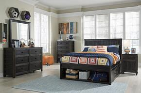 Alvarez Collection Twin Bedroom Set with Storage Bed, Dresser, Mirror, Nightstand and Chest in Black