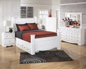 Weeki Collection Queen Bedroom Set with Poster Bed, Dresser, Mirror and Nightstand in White