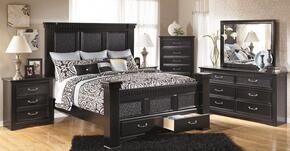 Cavallino Collection B291-31/35/150/157/164S/98/92 Cavallino Collection 4 Piece Bedroom Set in Black with Queen Size Mansion Poster Bed with Footboard Storage + Dresser + Mirror + Nightstand