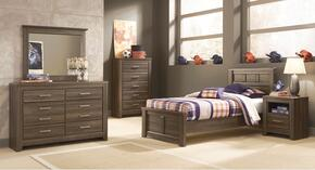 Juararo Twin Bedroom Set with Panel Bed, Dresser, Mirror and Nightstand in Aged Brown