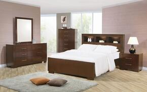 Jessica Collection 200719KWSET 5 PC Bedroom Set with California King Size Bed + Dresser + Mirror + Chest + Nightstand in Cappuccino Finish