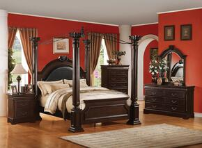 Roman Empire II 21328CK5PC Bedroom Set with California King Size Bed + Dresser + Mirror + Chest + Nightstand in Cherry Finish