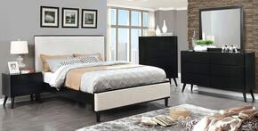 Lennart II Collection CM7387BKCKBEDSET 5 PC Bedroom Set with California King Size Panel Bed + Dresser + Mirror + Chest + Nightstand in Black Finish