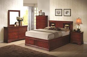 Louis Philippe 200439QDMN 4-Piece Bedroom Set with Queen Storage Bed, Dresser, Mirror and Nightstand in Cherry Finish