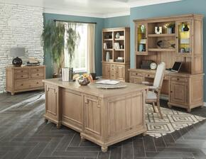 Florence Collection 801641SET 6 PC Home Office Set with Desk + Credenza + Hutch + File Cabinet + Bookcase + Armchair in Rustic Finish
