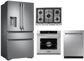 "4-Piece Stainless Steel Kitchen Package with DRF36C100SR 36"" French Door Refrigerator, RNCT305GSNGH 30"" Natural Gas Cooktop, RNWO130ES 30"" Single Wall Oven, and DDW24M999US 24"" Fully Integrated Dishwasher"