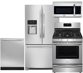 "Gallery 4-Piece Smudge-Proof Stainless Steel Kitchen Package with FGHF2366PF 36"" Freestanding French-Door Refrigerator, FGGF3035RF 30"" Freestanding Gas Range, FGID2466QF Fully Integrated Dishwasher and FGMV175QF Over-the-Range Microwave"