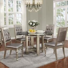 Danette Collection 106470C 5 PC Dining Room Set Including Round Dining Table and 4 Side Chairs in Metallic Platinum Color