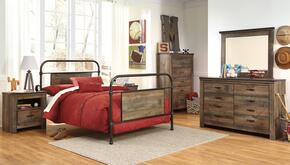 Trinell Twin Bedroom Set with Metal Bed, Dresser, Mirror and Nightstand in Brown