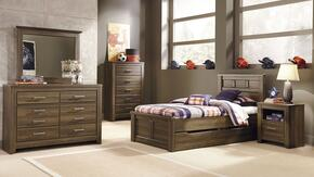 Juararo Twin Bedroom Set with Panel Storage Bed, Dresser, Mirror and Nightstand in Dark Brown