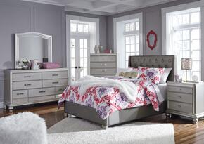Coralayne Collection Full Bedroom Set with Panel Bed, Dresser, Mirror, 2x Nightstands and Chest in Gray